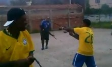 Brazilians Fire AK-47s in celebration of a penalty shoot out