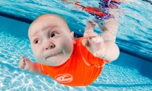 Cute Babies Learning To Swim