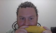 Guy With Cornrows Eats Corn While Listening To Korn