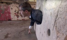 Reporter Gets Stuck In Hole During Break In Demonstration