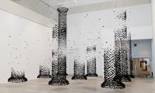 Seon Ghi Bahk's Suspended Charcoal Architectural Columns