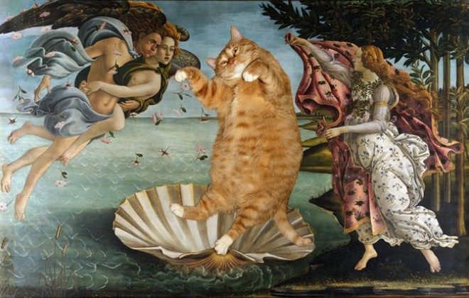 Classic Paintings Improved By A Big Fat Cat