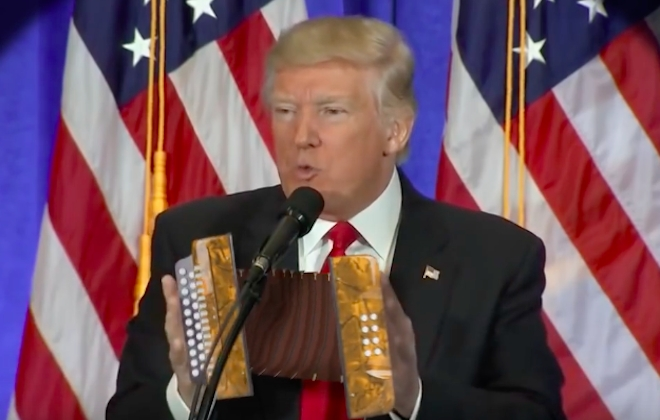 Donald Trump Speech Set To Accordion