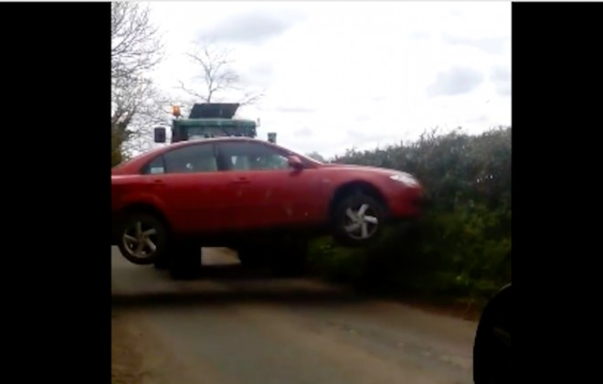 Tractor Lifts Car Away In Extreme Rural Parking Dispute