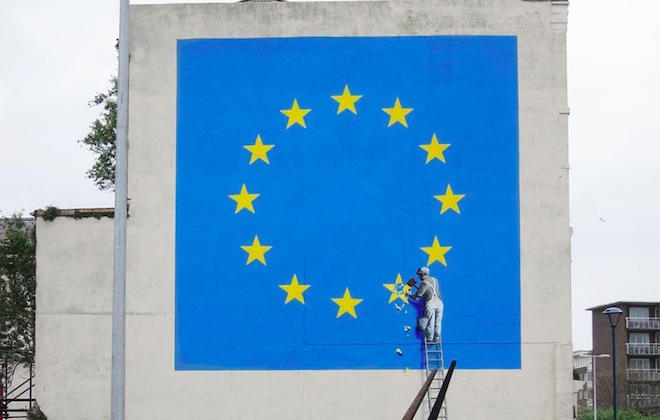 Banksy Creates EU Flag Mural In Dover