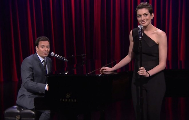 Jimmy Fallon and Anne Hathaway Sing Broadway Versions of Rap Hits