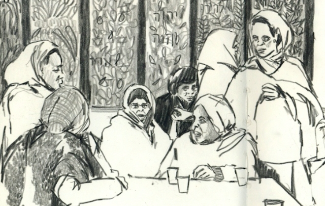 Gideon Summerfield Illustrates Refugees In London and Cardiff