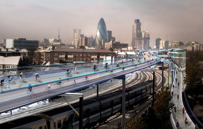 "SkyCycle Aims to Transform London into ""Cycling Utopia"""