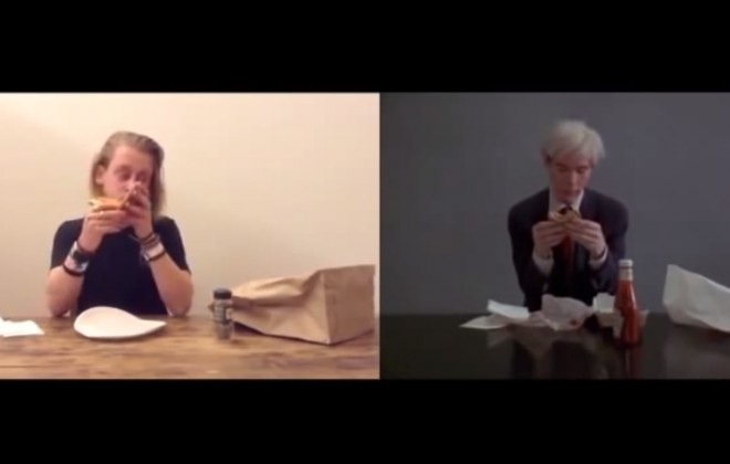 Macaulay Culkin Eating a Slice of Pizza / Andy Warhol Eating a Hamburger