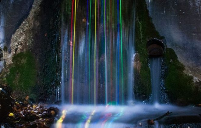 Dropping Glow Sticks in Waterfalls