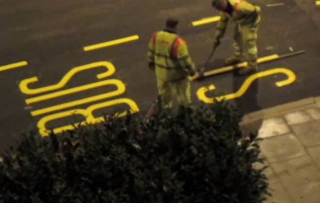 "How They Paint ""Bus Stop"" On The Road"