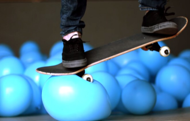 Skateboarding Through 5001 Balloons