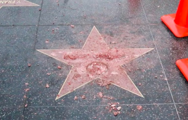 Donald Trump's Hollywood Star Destroyed By Sledgehammer