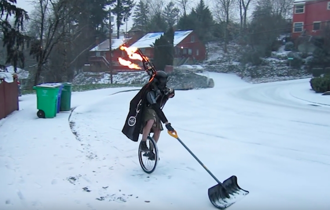 Man Dressed As Darth Vader Shovels Snow And Plays Flaming Bagpipes