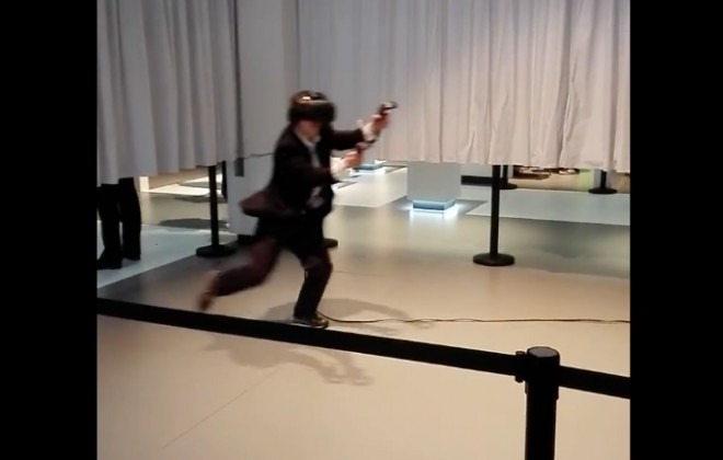 Man Tries Virtual Reality Experience, Goes Sorta Nuts