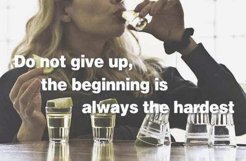 Motivational Fitness Quotes Over Pictures Of Alcoholism