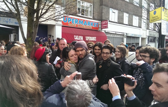 Braving The Media Storm At The Opening Of Russell Brand's Cafe