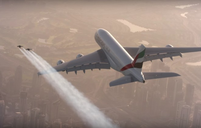 Jetpack Guys Fly Alongside Jumbo Jet