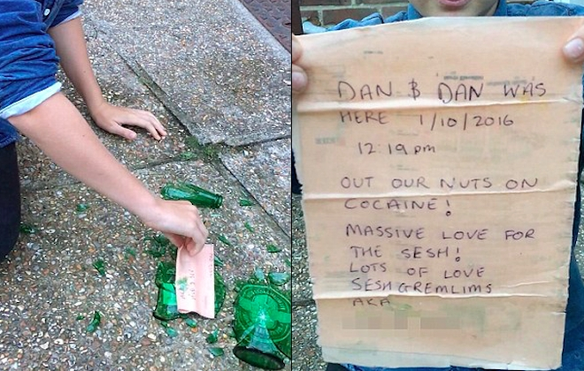 Teen Smashes Open Washed Up Bottle, Finds Message From Cokeheads