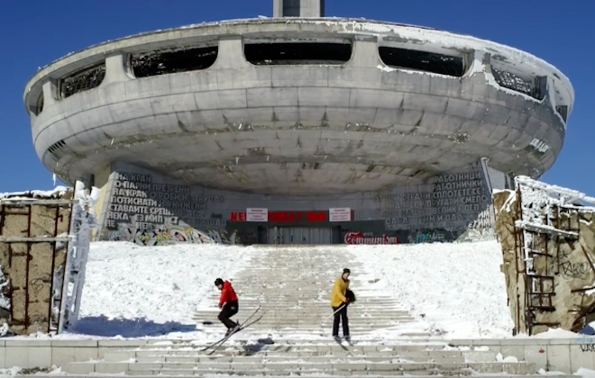 Exploring An Abandoned Communist Party Headquarters On Skis