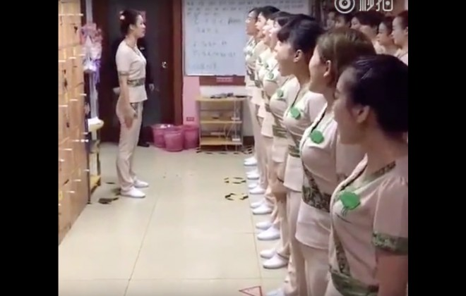 A Terrifying Chinese Masseuse Warm-Up Routine