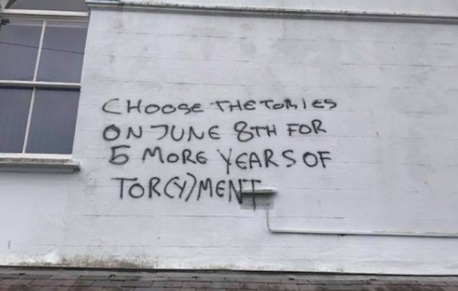 Anti-Tory Graffiti Artist Went On Painting Spree In Totnes