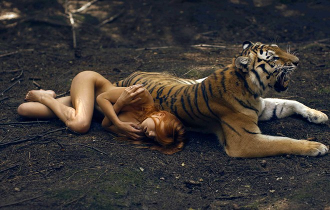 Katerina Plotnikova's fairy tale photography of young women & dangerous animals