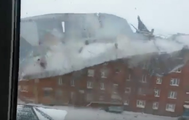 Wind Blows Roof Off Russian Building