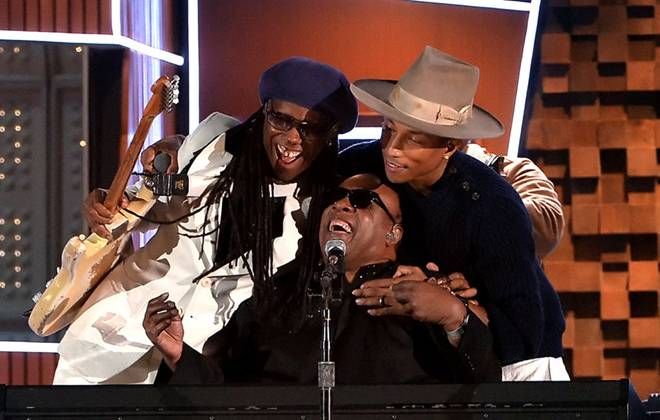 Stevie Wonder, Nile Rodgers, Pharell and Daft Punk, joined forces for a very special live performance