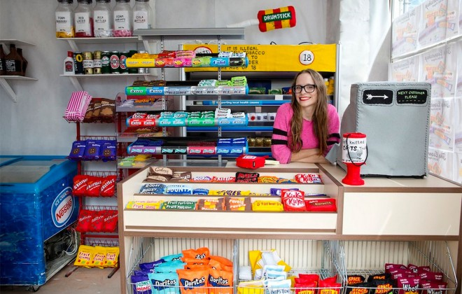 Artist Fills Cornershop With Knitted Goods